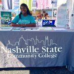 Jamica Hines represents the new East Davidson campus at the Hip Donelson farmers market.